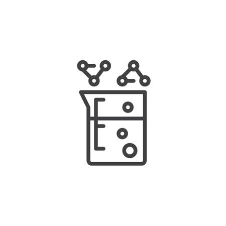 Beaker with chemical fluid outline icon. linear style sign for mobile concept and web design. Laboratory experiment simple line vector icon. Symbol, logo illustration