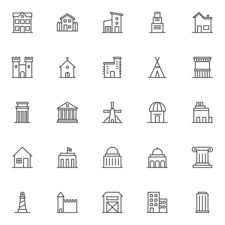 Landmarks and building outline icons set. linear symbols collection, line signs pack. vector graphics. Set includes icons- school, countryside house, two storey house with garage, skyscraper building Illustration