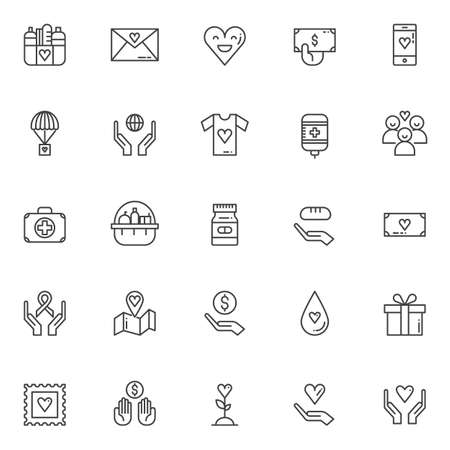 Charity elements outline icons set. linear style symbols collection, line signs pack. vector graphics. Set includes icons as Donation food, Happy heart, hand with money, Blood transfusion Ilustracja
