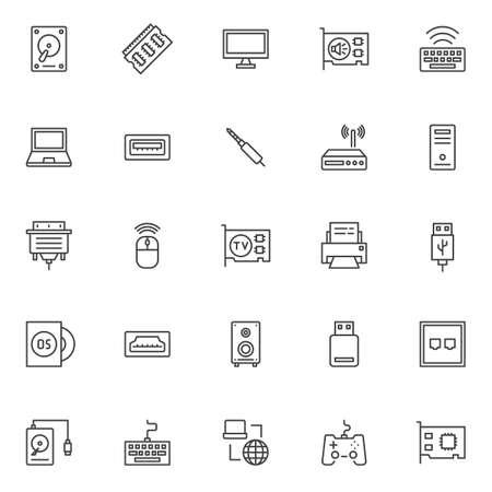 Computerkomponenten umreißen die eingestellten Ikonen. lineare Stilsymbole Sammlung, Linie Zeichen Pack. Vektorgrafiken. Das Set enthält Symbole wie Festplatte, RAM-Speicher, Monitor, Soundkarte, Tastatur, Laptop, PC-Gehäuse, Router