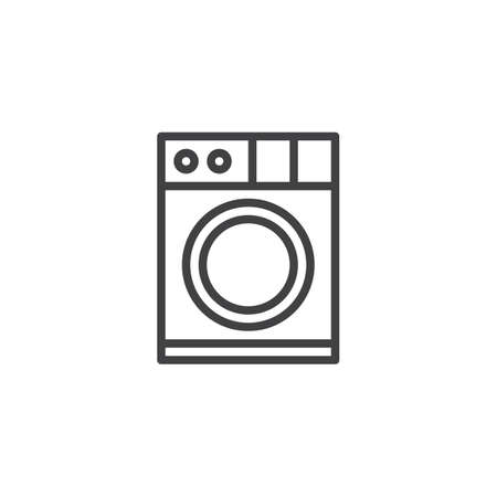 Washing machine outline icon. linear style sign for mobile concept and web design. Clothes washer simple line vector icon. Laundry symbol, logo illustration. Pixel perfect vector graphics