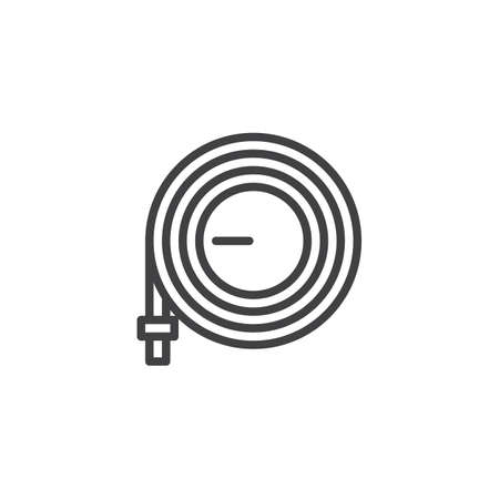 Watering hose outline icon. linear style sign for mobile concept and web design. Hosepipe simple line vector icon. Symbol, logo illustration. Pixel perfect vector graphics