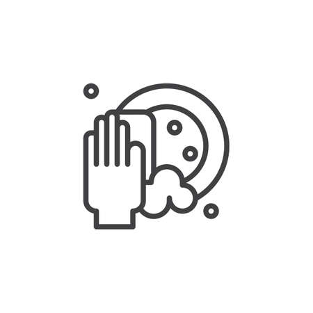 Clean dishes outline icon. linear style sign for mobile concept and web design. Hand holding sponge scrubbing the plate line vector icon. Symbol, logo illustration Illustration