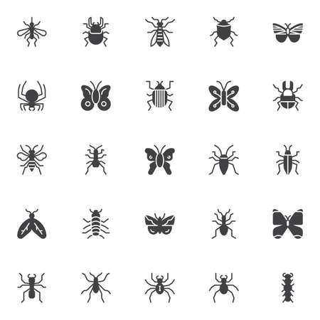Bugs and insects vector icons set, modern solid symbol collection, filled style pictogram pack. Signs, logo illustration.
