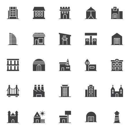 Buildings vector icons set, modern solid symbol collection, filled style pictogram pack. Signs, logo illustration.