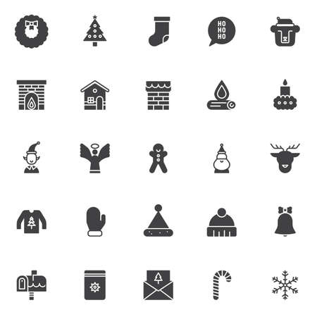 Christmas elements vector icons set, modern solid symbol collection, filled style pictogram pack.