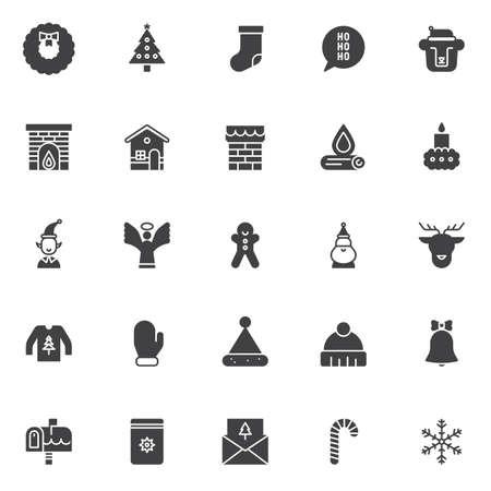 Éléments de Noël vector icons set, collection de symboles solides modernes, pack de pictogrammes de style rempli.