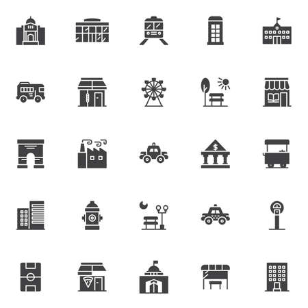 Urban buildings vector icons set, modern solid symbol collection, filled style pictogram pack.