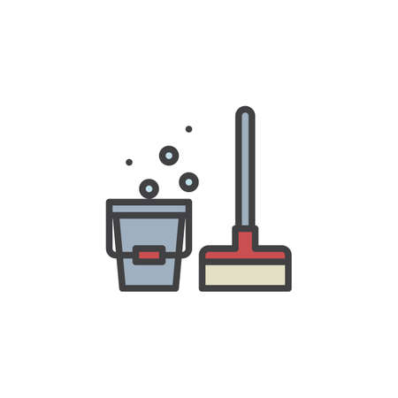 Mop and bucket filled outline icon, line vector sign, linear colorful pictogram isolated on white. Cleaning mop symbol, logo illustration. Pixel perfect vector graphics