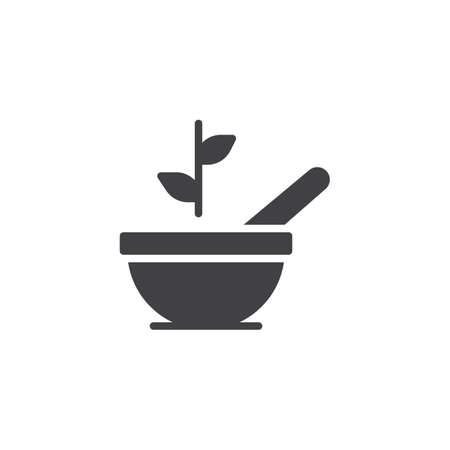 Mortar and pestle, Bowl and grinder leaf vector icon. filled flat sign for mobile concept and web design. Herbal Pharmacy simple solid icon. Symbol, logo illustration Ilustração