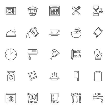 Kochanweisungen und Küchengeschirr Umrissikonen eingestellt. Sammlung linearer Stilsymbole, Linienzeichenpaket. Vektorgrafiken. Das Set enthält Symbole wie Mikrowelle, kochendes Wasser, Gabel und Löffel, Lebensmittel
