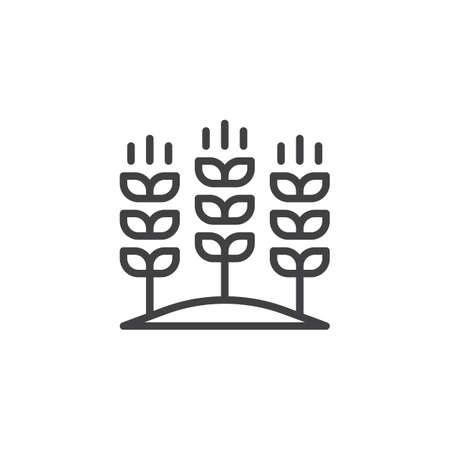 Coltivazione di grano sull'icona di contorno del campo. segno di stile lineare per concetto mobile e web design. Icona di vettore semplice linea di spighe di grano agricolo. Simbolo, illustrazione logo. Grafica vettoriale pixel perfetta Archivio Fotografico - 97115411