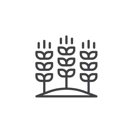 Growing wheat on field outline icon. linear style sign for mobile concept and web design. Agricultural wheat ears simple line vector icon. Symbol, logo illustration. Pixel perfect vector graphics