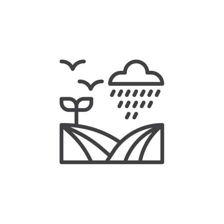 Campo sotto l'icona di contorno di pioggia. segno di stile lineare per concetto mobile e web design. Nuvola piovosa, uccelli in volo e campo icona linea semplice vettore. Simbolo, illustrazione logo. Archivio Fotografico - 97114878