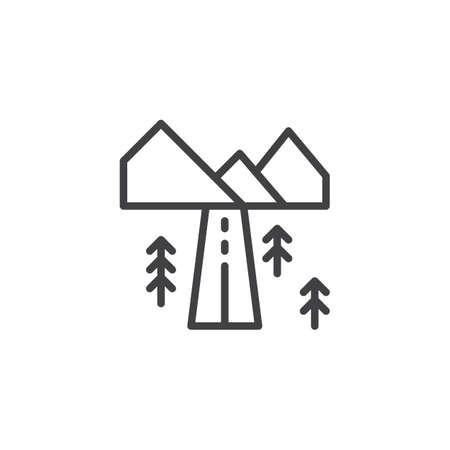 Landscape with highway outline icon. linear style sign for mobile concept and web design. Country road with mountains and forest trees simple line vector icon. Symbol, logo illustration