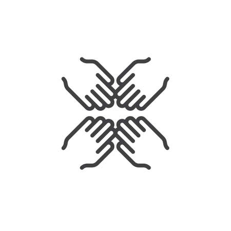 Four hands join together outline icon. cooperation linear style sign for mobile concept and web design. Teamwork simple line vector icon. Symbol, logo illustration. Pixel perfect vector graphics Illustration
