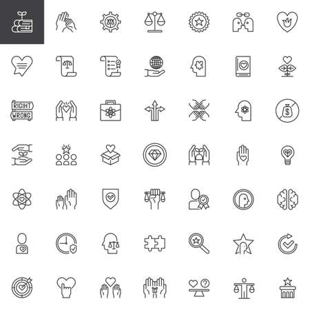 Ethics universal outline icons set. linear symbols collection, line signs pack. vector graphics. Set includes icons as knowledge, law scales, puzzle, business, teamwork, science, donation charity