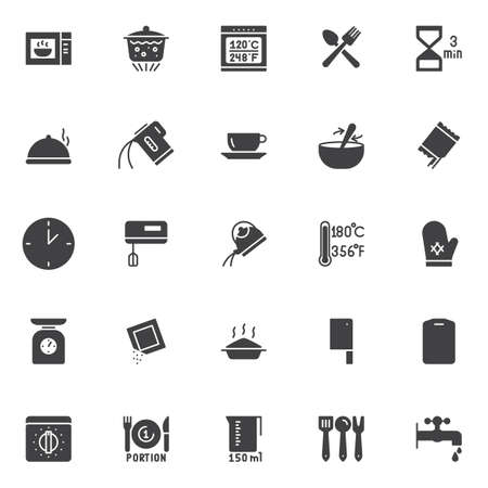 Cooking instructions and kitchenware vector icons set.