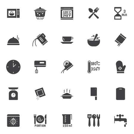 Instrukcje gotowania i zestaw ikon wektorowych przybory kuchenne. Ilustracje wektorowe