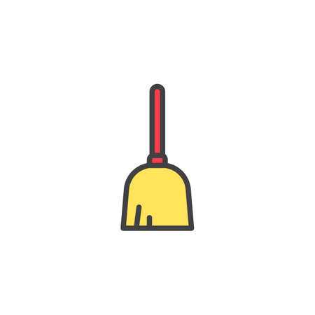 Broom filled outline icon, line vector sign, linear colorful pictogram isolated on white. Duster mop symbol, logo illustration. Pixel perfect vector graphics Vectores