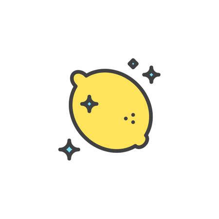 Icono de contorno lleno de olor a aire fresco de limón, signo de vector de línea, pictograma lineal colorido aislado en blanco. Símbolo de aroma cítrico, ilustración de logotipo. Gráficos vectoriales perfectos de píxeles