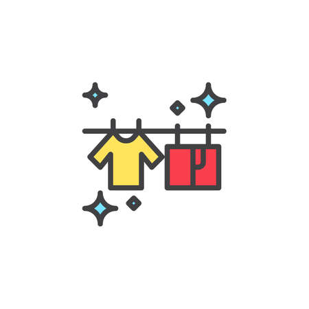 T-shirts hanging on a clothesline filled outline icon, line vector sign, linear colorful pictogram isolated on white. Dried clean laundry symbol, logo illustration. Pixel perfect vector graphics