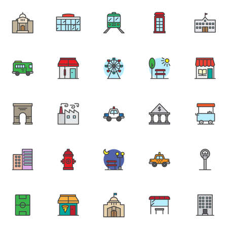 City landmarks filled outline icons set, line vector symbol collection, linear colorful pictogram pack. Signs logo illustration, Set includes icons as mosque palace, shopping mall, school, barbershop Stock fotó - 97359469
