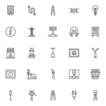 Electrician elements outline icons set. linear style symbols collection, line signs pack. vector graphics. Set includes icons as electrical panel, electric plugs, broken electrical wires, transformer