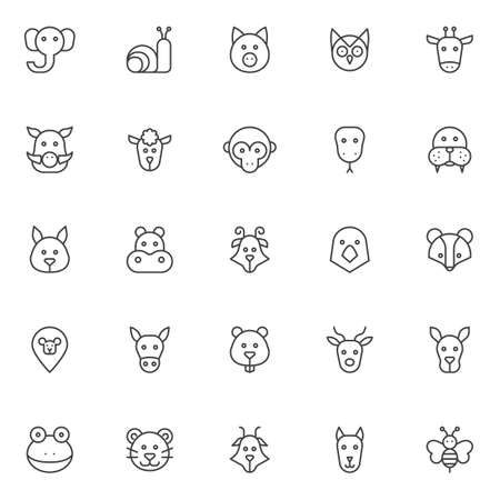 Animals heads outline icons set. linear style symbols collection, line signs pack. vector graphics.