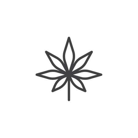 Cannabis leaf outline icon.