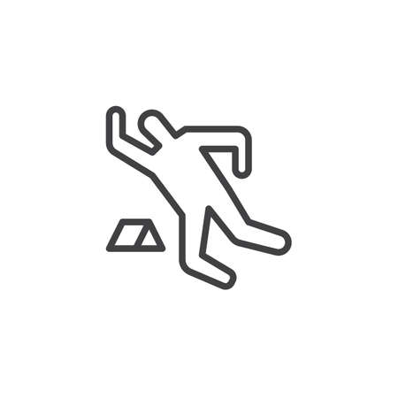 Dead person chalk outline icon. linear style sign for mobile concept and web design. Crime scene simple line vector icon. Symbol, logo illustration. Pixel perfect vector graphics
