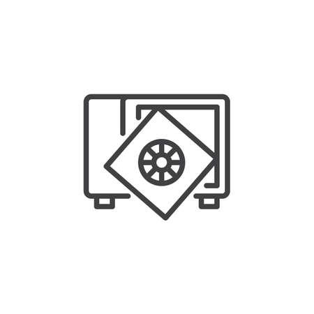 Safe with broken door open outline icon