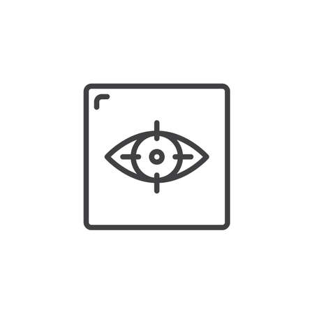 Focus of eye outline icon. linear style sign for mobile concept and web design. Virtual reality simple line vector icon. Symbol, logo illustration. Pixel perfect vector graphics