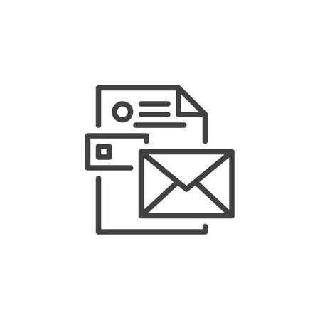 Envelope with CV resume outline icon. linear style sign for mobile concept and web design. Stationery simple line vector icon. Symbol, logo illustration. Pixel perfect vector graphics