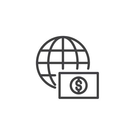 Globe with dollar money outline icon. linear style sign for mobile concept and web design. Ilustrace