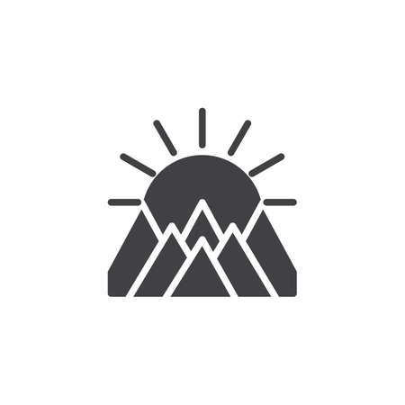 Mountains landscape on sunset vector icon. filled flat sign for mobile concept and web design. The sun is behind mountains simple solid icon. Symbol, logo illustration
