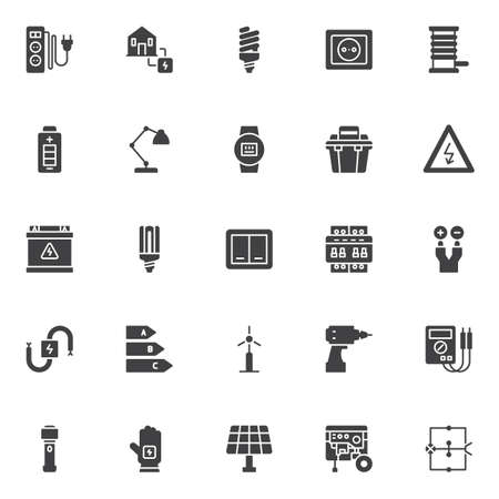 Electrician vector icons set, modern solid symbol collection, filled style pictogram pack.