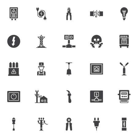 Electrician elements vector icons set, modern solid symbol collection, filled style pictogram pack. Signs, logo illustration. Set includes icons as electrical panel, electric plugs, electrical wires Vectores