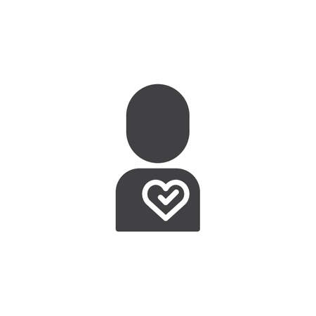 Loving man vector icon. filled flat sign for mobile concept and web design. Men with heart simple solid icon. Symbol, logo illustration. Pixel perfect vector graphics Stock Illustratie