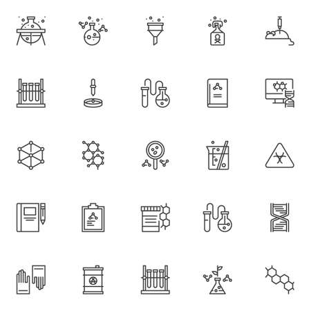 Chemistry outline icons set. linear style symbols collection, line signs pack vector graphics. Set includes icons as laboratory flask with chemical fluid, funnel filter laboratory mouse with injection