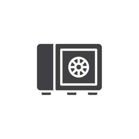 Safe box vector icon in black and white illustration.