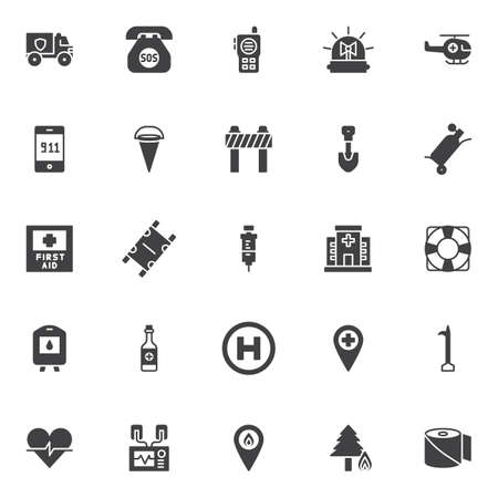 Emergency vector icons set, modern solid symbol collection, filled style pictogram pack signs, illustration. Set includes icons as police truck, walkie talkie, emergency flasher, helicopter.