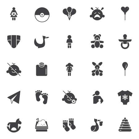Baby vector icons set, modern solid symbol collection, filled style pictogram pack. Signs, logo illustration. Set includes icons as pregnant, pokeball, party balloons, crying baby, flying stork, nappy