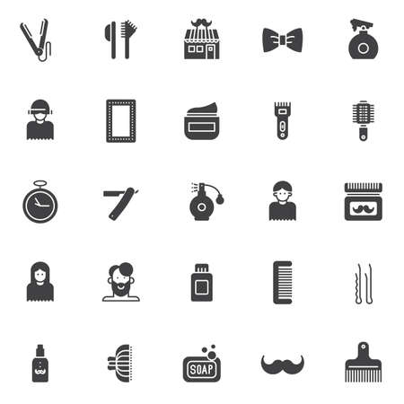 Barber vector icons set, modern solid symbol collection, filled style pictogram pack. Signs, logo illustration. Set includes icons as straighten, hair brush, barber shop, spray bottle, make up mirror Vectores