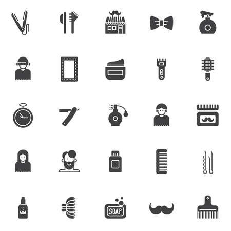 Barber vector icons set, modern solid symbol collection, filled style pictogram pack. Signs, logo illustration. Set includes icons as straighten, hair brush, barber shop, spray bottle, make up mirror Illustration