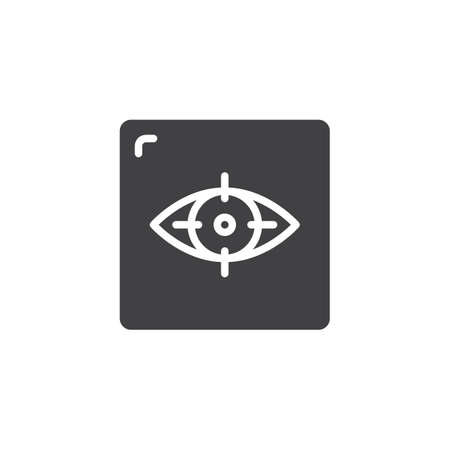 Focus of eye vector icon. filled flat sign for mobile concept and web design. Virtual reality simple solid icon.