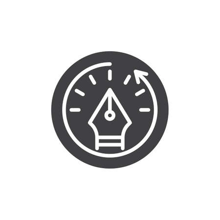 Fountain pen and clock vector icon on a whit background