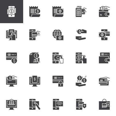 Payment methods vector icons set, modern solid symbol collection, filled style pictogram pack. Signs, logo illustration. Set includes icons as profits, wallet, money, banking, transaction, credit card