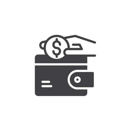 Hand putting dollar coins into wallet vector icon. filled flat sign for mobile concept and web design. Money saving simple solid icon. Symbol, logo illustration. Pixel perfect vector graphics