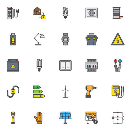 Electrician elements filled outline icons set, line vector symbol collection, linear colorful pictogram pack. Vetores